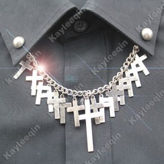 vintage silver multi cross dot chain stud shirt collar neck