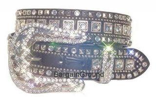 New Womens Western Rhinestone Bling Crystal Black Leather Buckle Belt