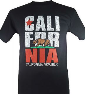NEW CALIFORNIA REPUBLIC STATE FLAG T SHIRT BLACK X LARGE XL