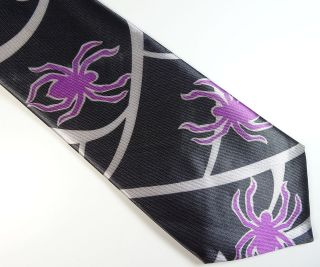 Halloween Spider Black Purple Costume Cheap Novelty Fun Neck Tie Mens