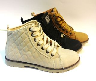 WOMEN LADIE FLAT LACE UP SPORT HIGH HI TOP QUILTY PUMPS TRAINERS SHOES