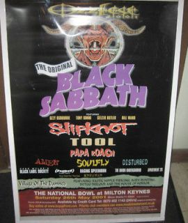 OZZFEST 2001 VINTAGE RARE NEW POSTER BLACK SABBATH TOOL SLIPKNOT