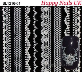 ♥ Professional 3D Nail Art Lace Stickers Decals in White