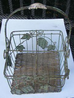 Wine Bottle Wire Basket with Wicker Bottom & Grape Pods & Leaf Design