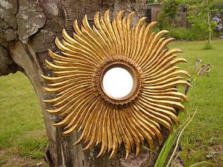 CARVED WOODEN GILDED SUNBURST/STARBURST MIRROR DISTRESSED GLASS