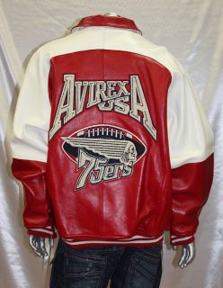 avirex red white 100 % genuine leather jacket more options size time