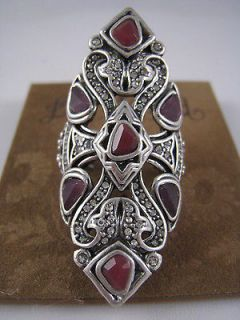 AUTHENTIC JEWELRY SILVER TONE~RUBY & PURPLE STONE RING, SIZE 7, NWT