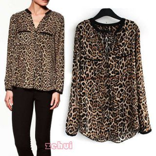 Women Europe Casual Leopard Softly Shirts Vintage Long Sleeve Western