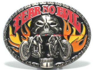 HBG1707J FEAR NO EVIL FLAME SKULL GHOST RIDER MOTORCYCLE BIKER BELT