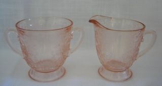 pink depression glass creamer sugar bowl  18