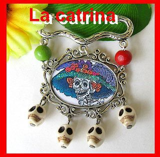 SUGAR SKULL lolita PIN day of the dead DIA DE LOS MUERTOS ♥ MEXICO