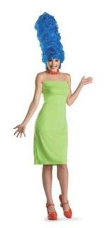 NWT WOMANS ADULT DELUXE MARGE SIMPSON COSTUME BEEHIVE WIG DRESS