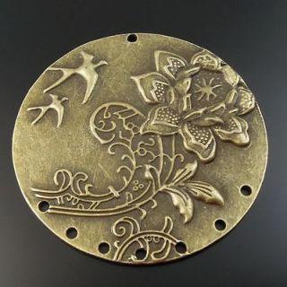 Antiqued Bronze Tone Beauty Swallow Flower Pattern Pendant Charm 4pcs