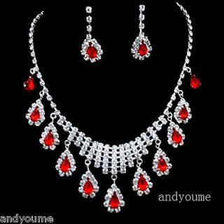 Swarovski Crystal Ruby Wedding Party Bridal Jewelry Set Necklace
