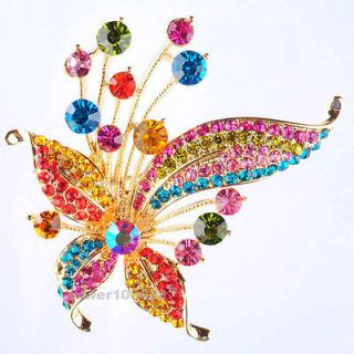 Swarovski Crystal 18K Gold Plated GP Colourful Butterfly Brooch Pin