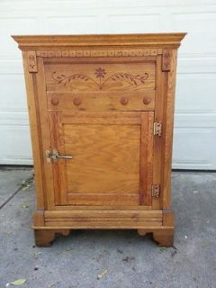 ANTIQUE OAK ICE BOX, ALL ORIGINAL, RARE BEAUTIFUL ORNATE LARGE, HEAVY