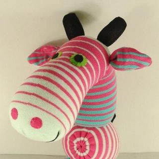 Handmade Pink Striped Sock Monkey Giraffe Stuffed Animals Doll Baby