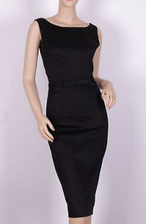 40s 50s audrey hepburn Wiggle Black SIZE S Pinup Pencil Dress