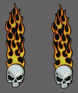 long flame skull patch 7 inch pair biker patch time