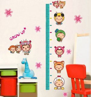 New Cute Kids Growth Height Chart Measure Wall Sticker Nursery Kids