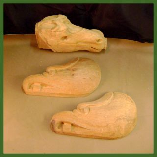 Wood Carvings ♦ Horse Head + 2) Sea Eagle Heads ♦ 12 Long