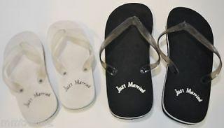Black White Bride Groom Rubber Thongs Flip Flops Men 12 Women 9