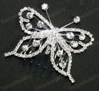 BUTTERFLY rhinestone CRYSTAL HAIR COMB silver slide/pin BRIDAL