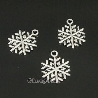 40PCS Tibetan Silver Christmas Snowflak Charm Pendant Jewelry Findings