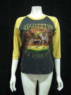 LED ZEPPELIN U.S.Tour 1975 Vintage Re Printed Jersey Women T Shirt XS
