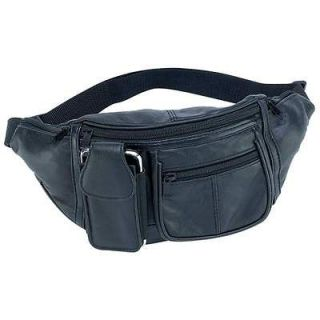 NEW Black Leather Fanny Pack Waist Bag / Mens Womens Hip Travel Carry