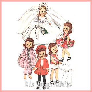 Vtg 8 Betsy McCall doll Clothes Pattern ~ Wedding Dress, play clothes