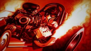Vintage Nitro front engine dragster fire burnout art by Lawrence