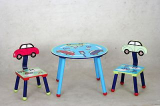 kids table and chair set car theme