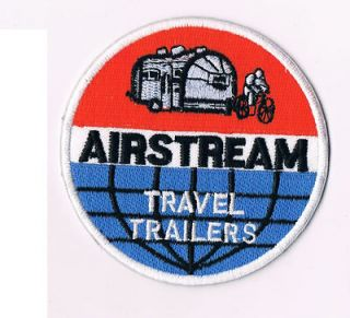 vintage airstream travel trailers patch applique rv camping bicycle