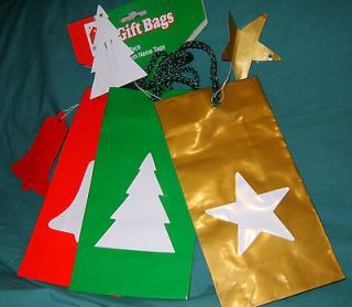 Lot of 3 Small Cut Out Gift Bags w/ Tags Gold Star Green Tree Red Bell