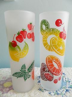Vtg 50s Federal Frosted Fruit Cocktail Glass Tumblers Retro Tiki Bar