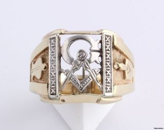 Vintage Masonic Master Mason Blue Lodge Ring   14k Yellow & White Gold