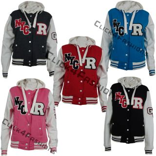NEW LADIES WOMENS HOODED BASEBALL JACKET VARSITY BOMBER HOODIE TOP