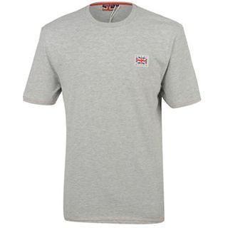 GREAT BRITAIN Union Jack Flag badge Mens T Shirt 100% Cotton Grey