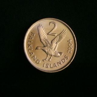 Islands 2 Pence Unc World Coin KM3a Elizabeth II Upland Goose bird