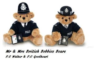 BRITISH MALE FEMALE BOBBY POLICE TEDDY BEAR ROYAL WEDDING Sold Out In