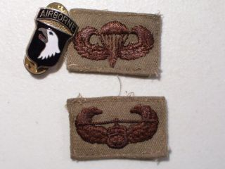 LOT OF 2 VINTAGE U.S. ARMY AIRBORNE PATCHES & AIRBORNE LAPEL HAT PIN