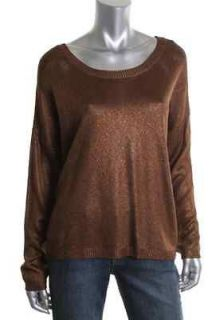 Vince Camuto NEW Brown Metallic Ribbed Trim Long Sleeve Pullover