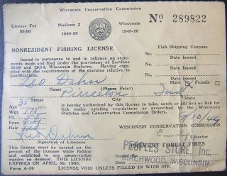 1940 new hampshire 3day non resident fishing license for New hampshire fishing license