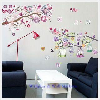 Flowers Tree Birdcage Wall Stickers Mural Children Wallpaper Kids