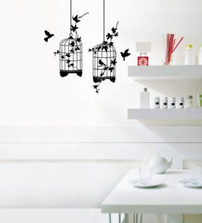 Birds Cages Tree Adhesive Removable Wall Decor Accents Graphic