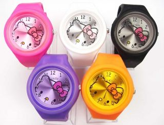 Clock Hello Kitty Gel Silicone Jelly Candy wrist Watch Wholesale #303
