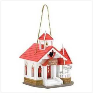 Red & White Wood Wedding Chapel Bird House Romantic Lovebirds Love