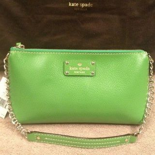 NEW KATE SPADE WELLESLEY BYRD VINE GREEN LEATHER SHOULDER BAG SMALL