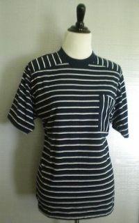 OLEG CASSINE Navy Blue and White Stripe Knit Top T Shirt Short Sleeves